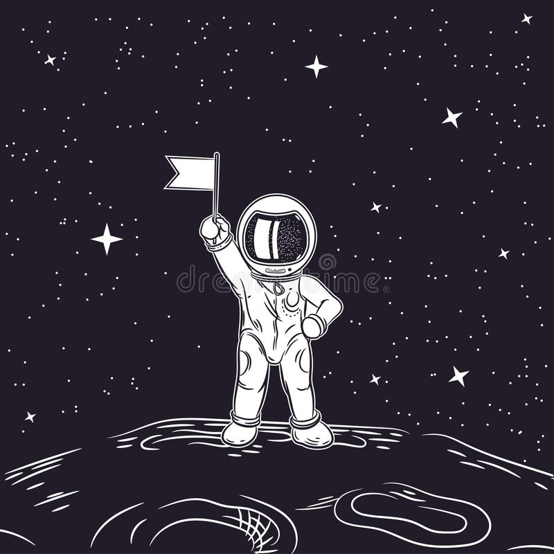 Astronaut with flag in hand. Outer space. Astronaut with flag in hand. Vector illustration on a theme of astronomy stock illustration