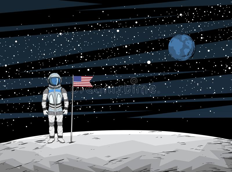 Astronaut with flag after on lunar surface with spacecraft on background vector illustration
