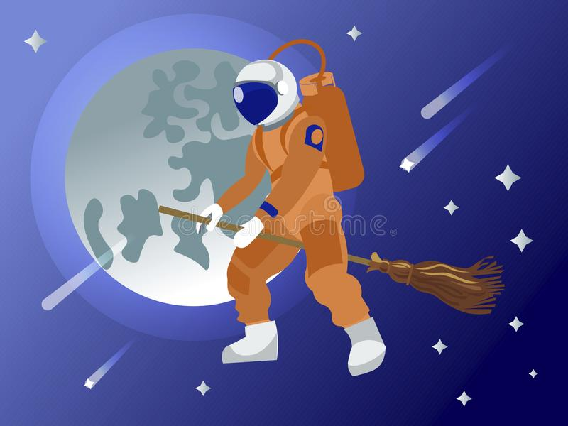 The astronaut flies on a broomstick in outer space. Fantasy. In minimalist style. Cartoon flat vector vector illustration