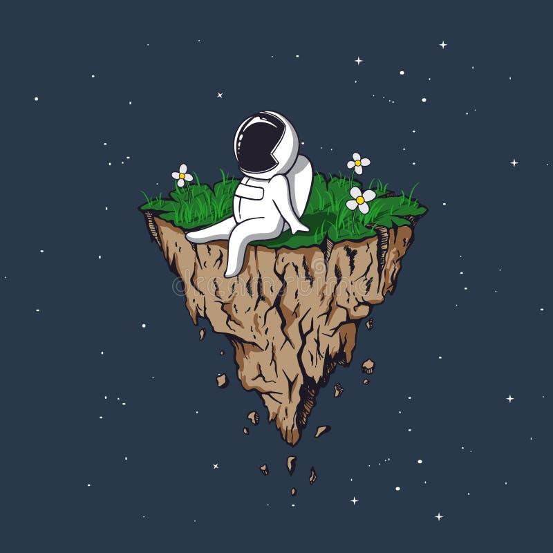 Astronaut flies on flying island vector illustration