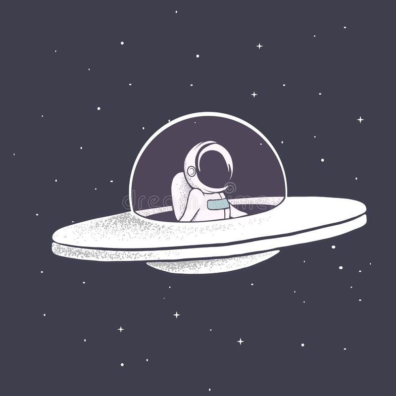 Astronaut flies in flying saucer royalty free illustration