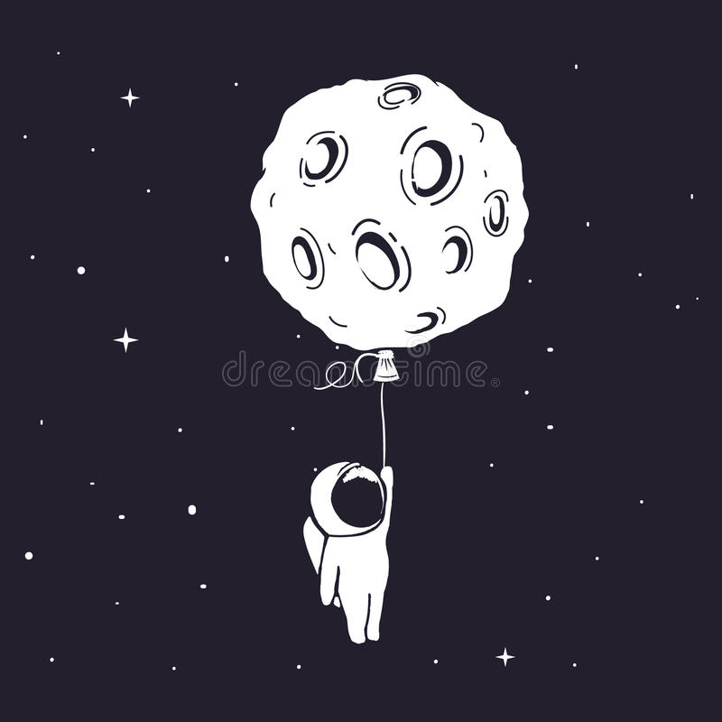 Astronaut flies and keeps for moon stock illustration