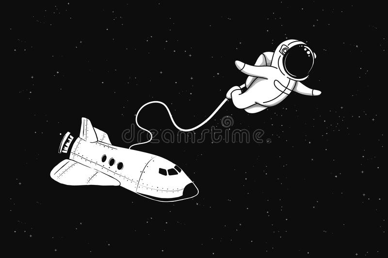 Astronaut flies in outer space from shuttle vector illustration