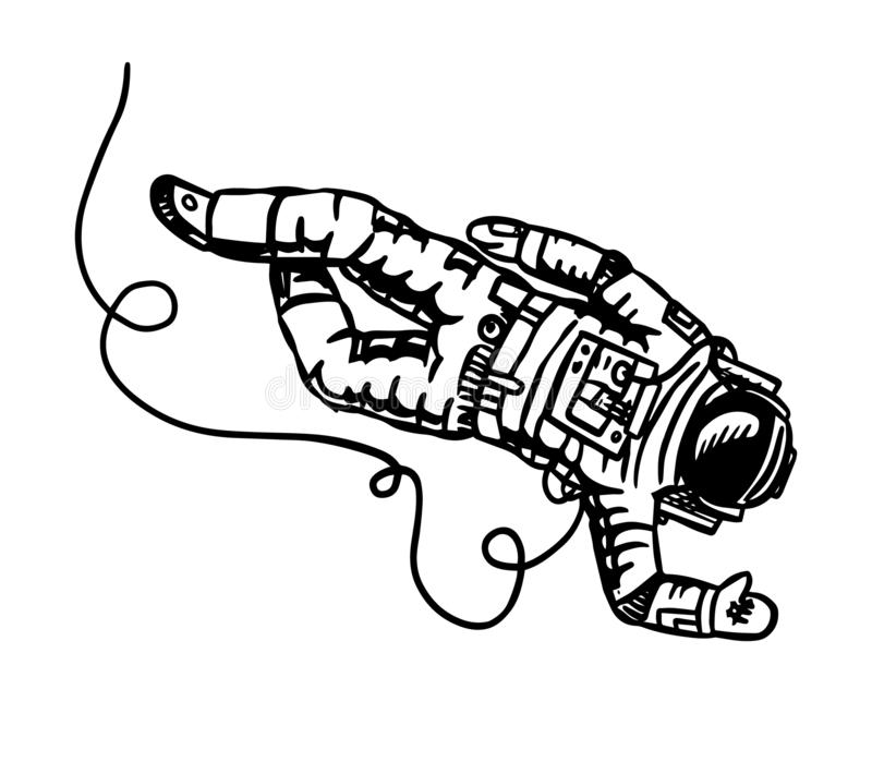 Astronaut flies in space. Spaceman explores the galaxy Astronomy sketch for emblem or logo in vintage style. Hand drawn royalty free illustration