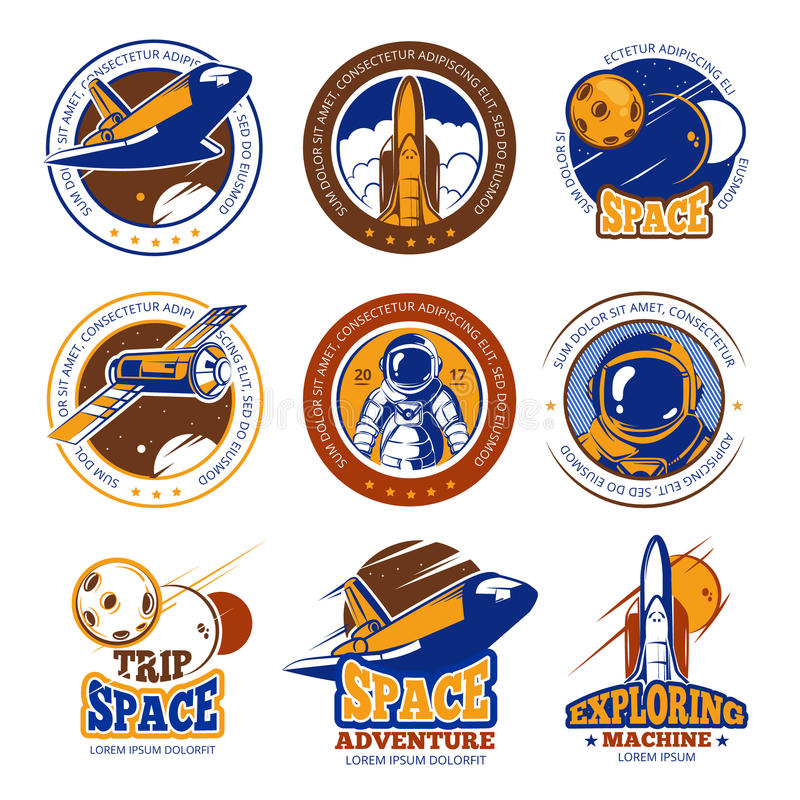 Astronaut flight, aviation, space shuttle and rockets vintage vector labels, logos, badges, emblems stock illustration