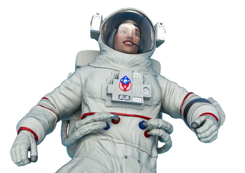 Astronaut float close up pose in a white background royalty free illustration