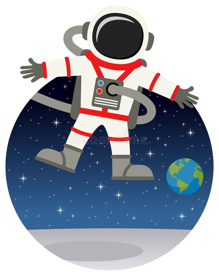 Astronaut Floating in de Ruimte met Sterren vector illustratie