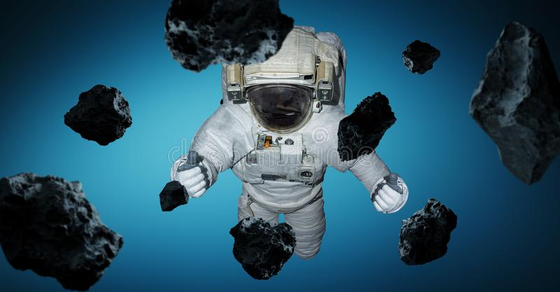 Astronaut isolated on blue background 3D rendering elements of t royalty free illustration