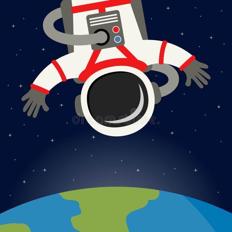 Astronaut Floating met Aardeachtergrond vector illustratie