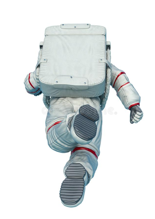 Astronaut floating pose rear view in a white background royalty free illustration