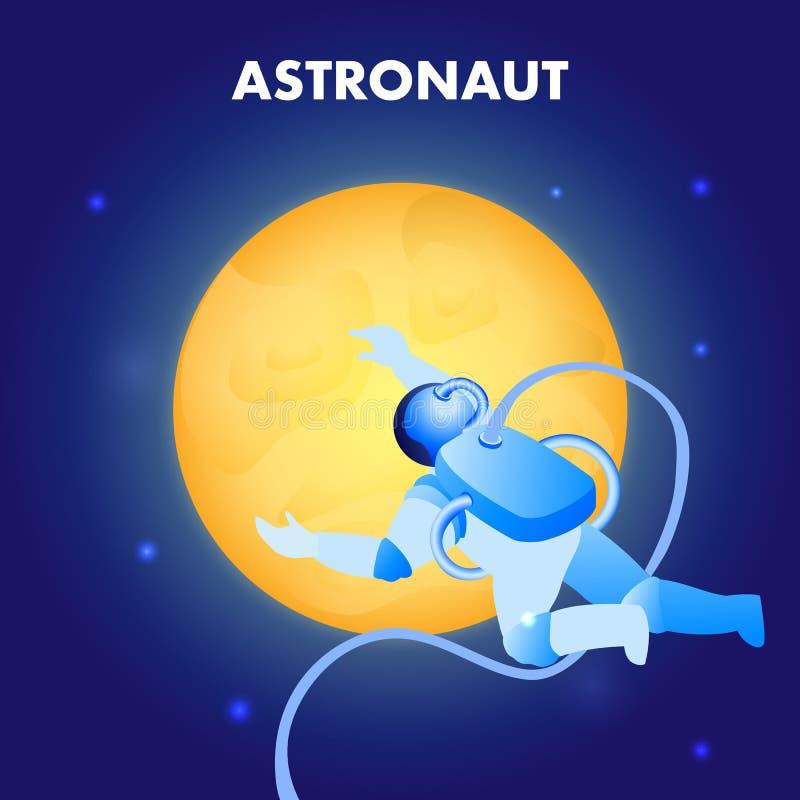 Astronaut Floating in Ruimte Vlakke Illustratie vector illustratie