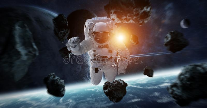 Astronaut floating in space 3D rendering elements of this image royalty free illustration