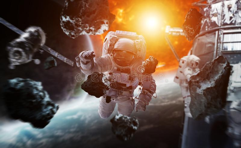 Astronaut floating in space 3D rendering elements of this image stock illustration