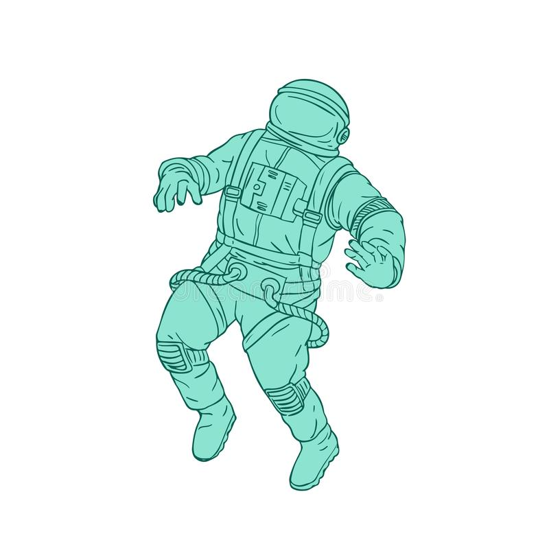 Astronaut Floating in Space Drawing stock illustration
