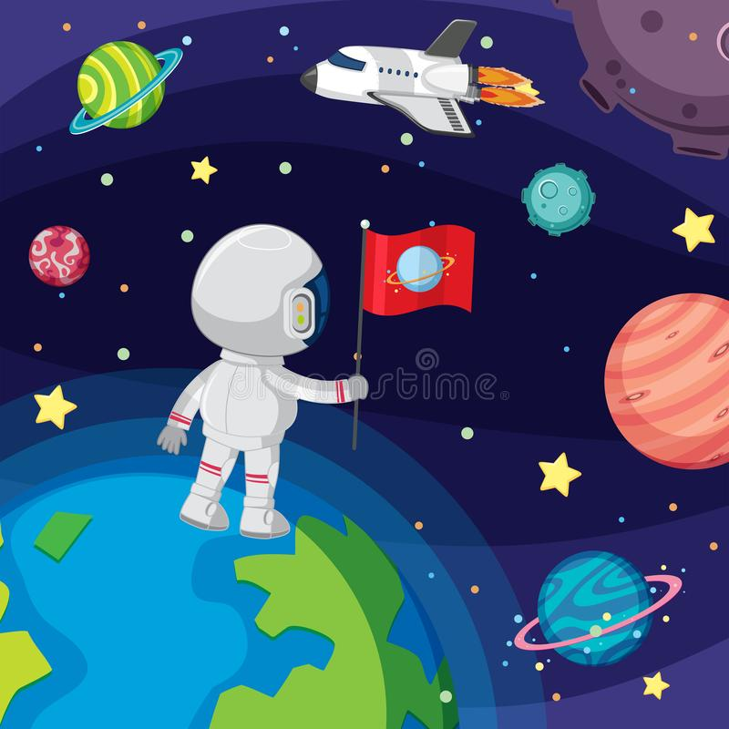 Astronaut floating in space stock illustration