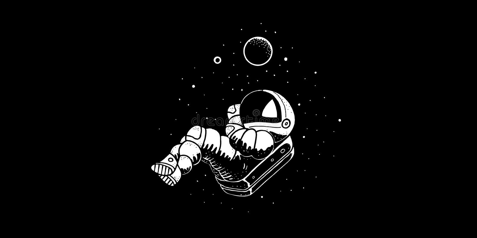 Astronaut flying in cosmos vector illustration. Funny spaceman hand drawn. Banner