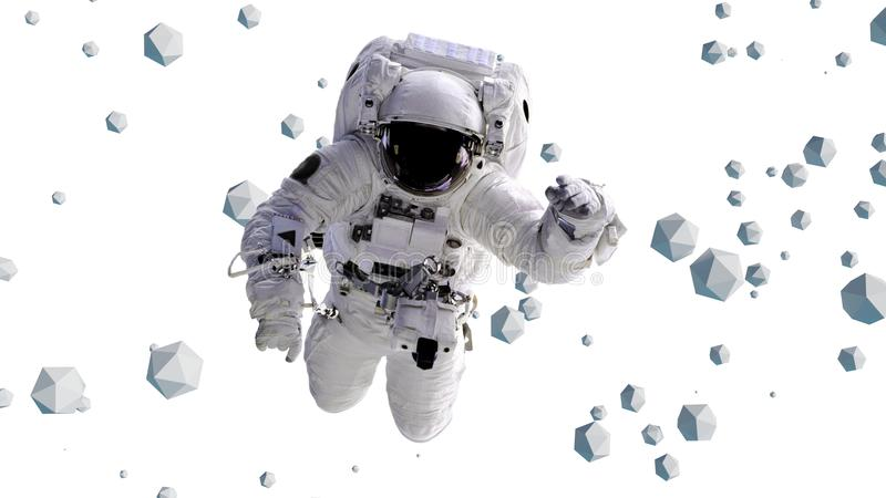 Astronaut flying between geometric objects 3d illustration, elements of this image are furnished by NASA. Surreal scene with astronaut and icosahedrons royalty free illustration