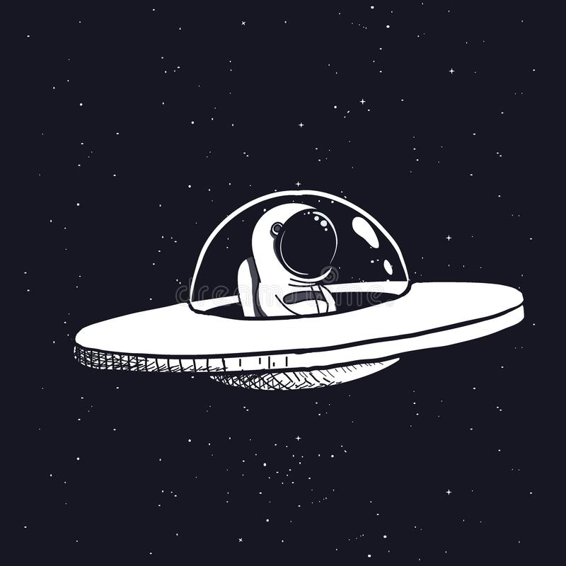 Astronaut in a flying saucer vector illustration