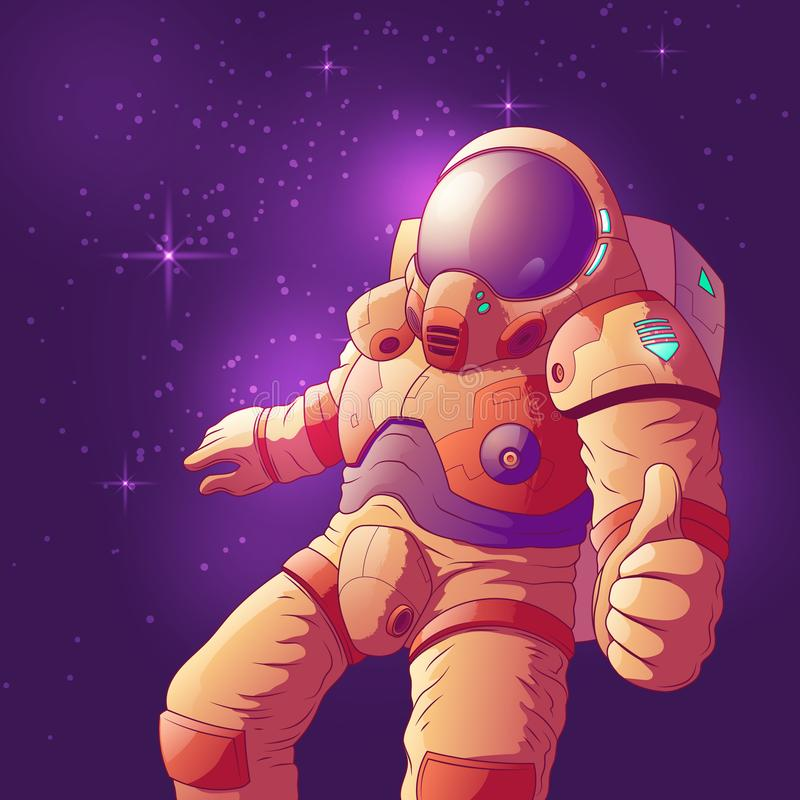 Astronaut showing thumbs up in space vector royalty free illustration