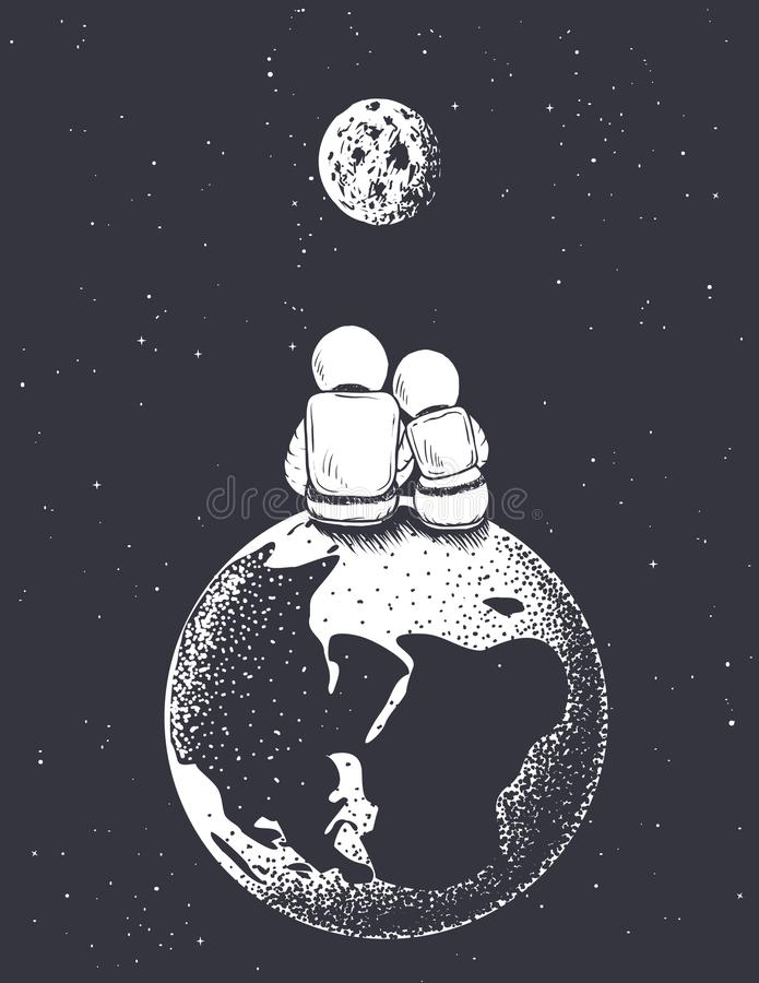 Free Astronaut Girl And Boy Looks To Moon From Earth Royalty Free Stock Photos - 124179578