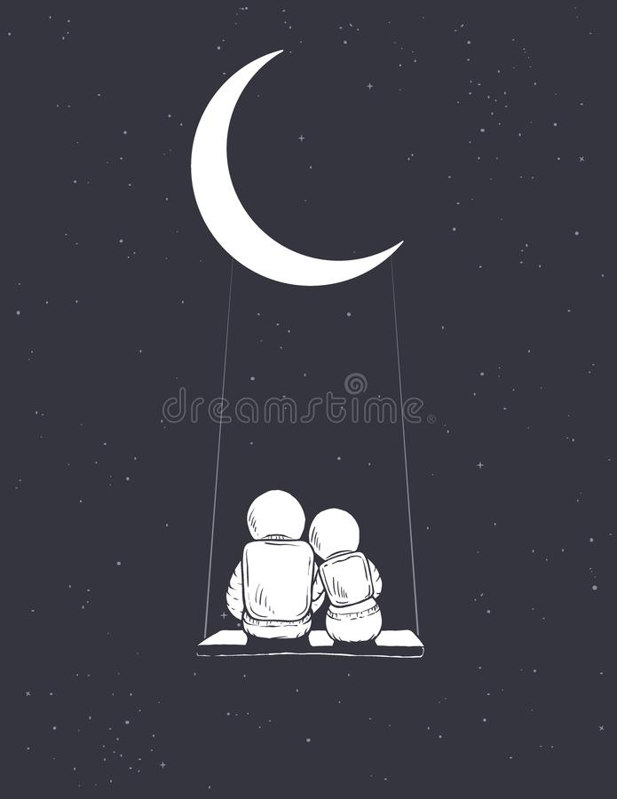 Astronaut girl and boy sits on swing. Astronauts girl and boy sits on swing and look to universe.Hand drawn style.Space vector illustration royalty free illustration