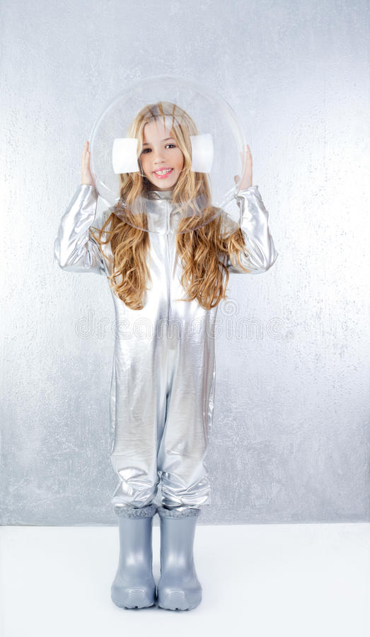 Download Astronaut Girl With Silver Uniform Stock Photo - Image: 23148254