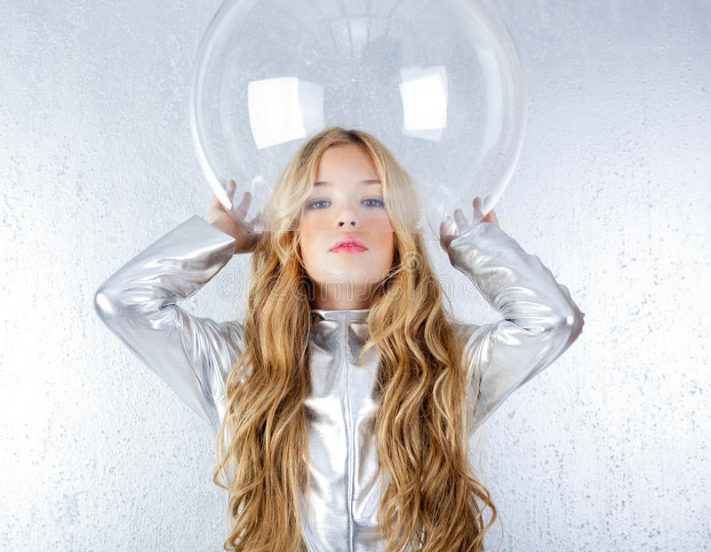 Download Astronaut Girl With Silver Uniform Stock Image - Image: 23148379