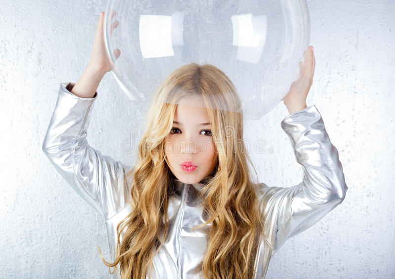 Download Astronaut Girl With Silver Uniform Stock Photo - Image: 23148550