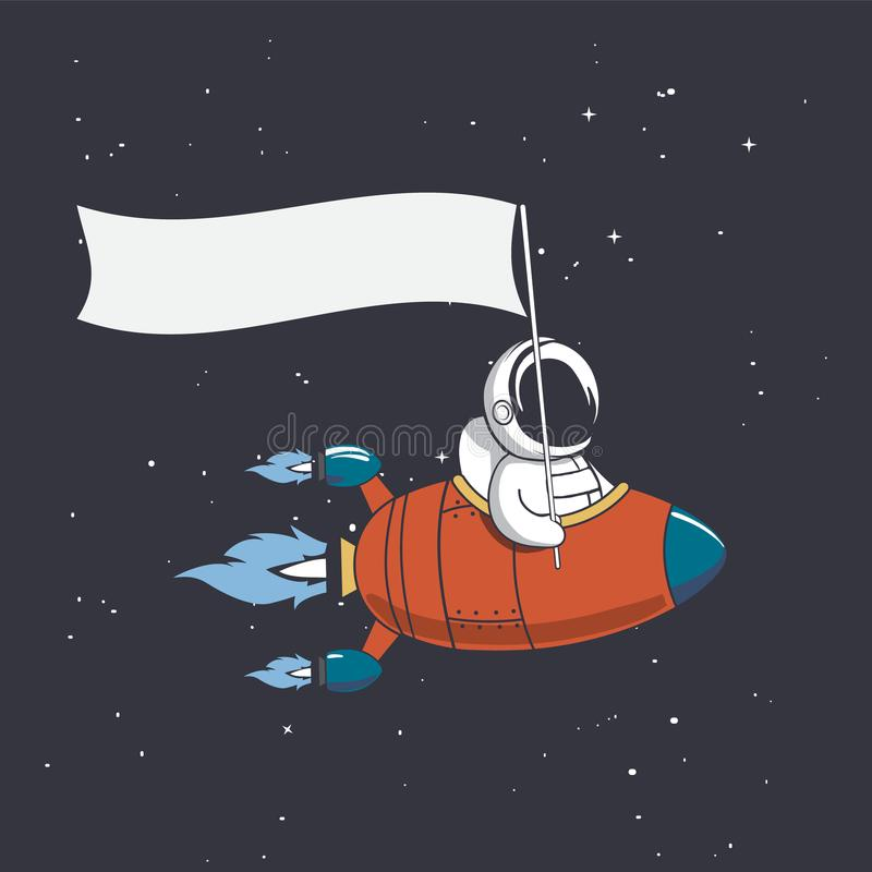Astronaut holds a flag in rocket royalty free illustration