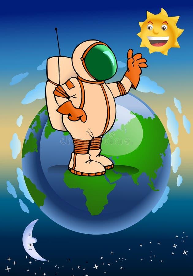 Astronaut i avstånd vektor illustrationer