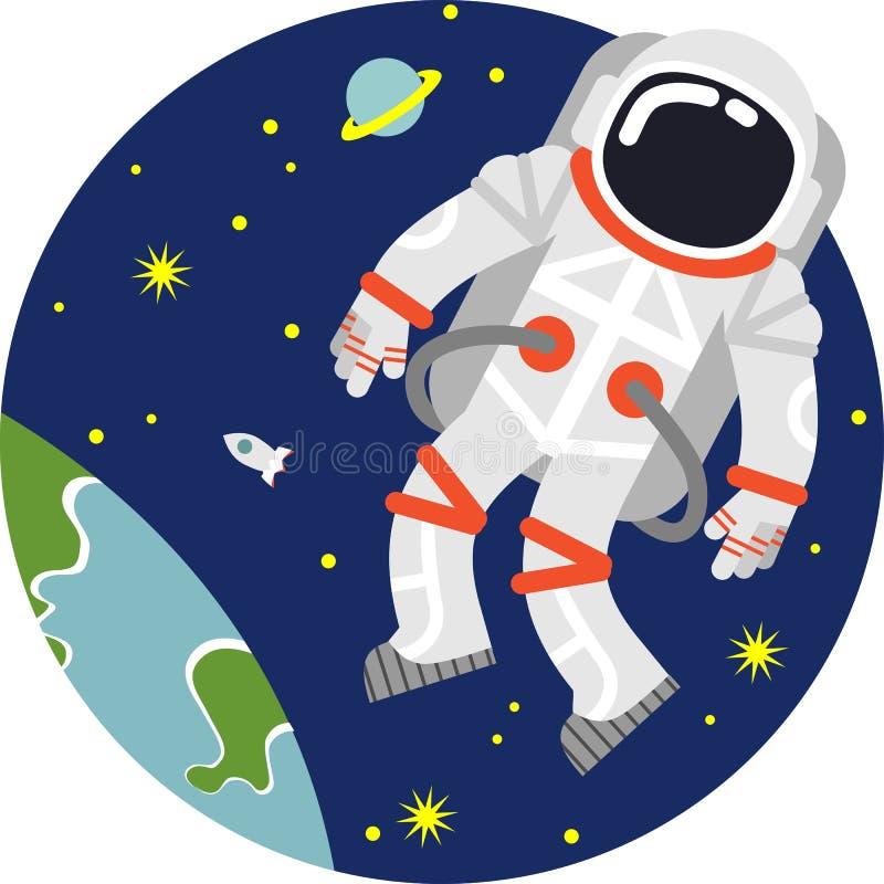 Astronaut i avstånd stock illustrationer