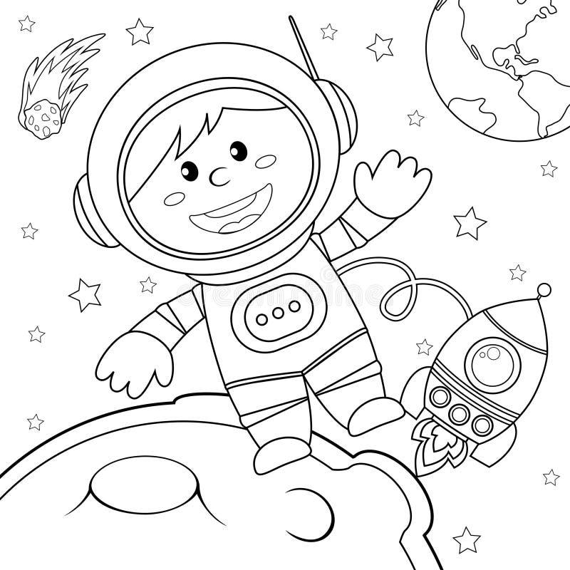 Astronaut i avstånd Svartvit vektorillustration för färgläggningbok stock illustrationer