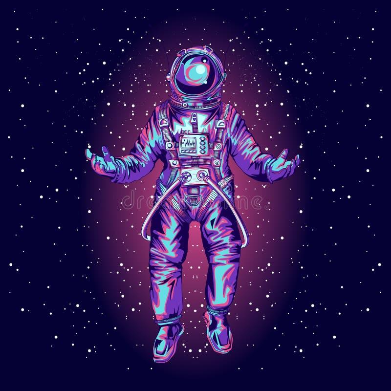 Astronaut i spacesuit på utrymme , arkivfoto
