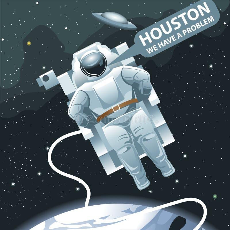 Astronaut, i spacesuitflyg i utrymme och att kalla för Houston stock illustrationer