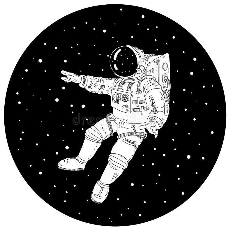 Astronaut i svartvit illustration för yttre rymd vektor illustrationer