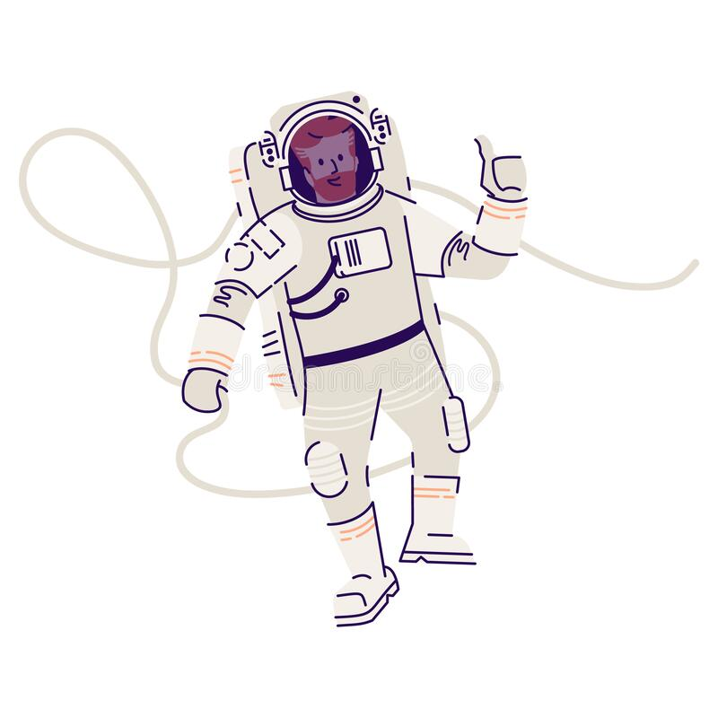 Free Astronaut In Spacesuit Floating Flat Vector Illustration. Male Cosmonaut, Space Traveler Flying In Zero Gravity And Stock Image - 180292451