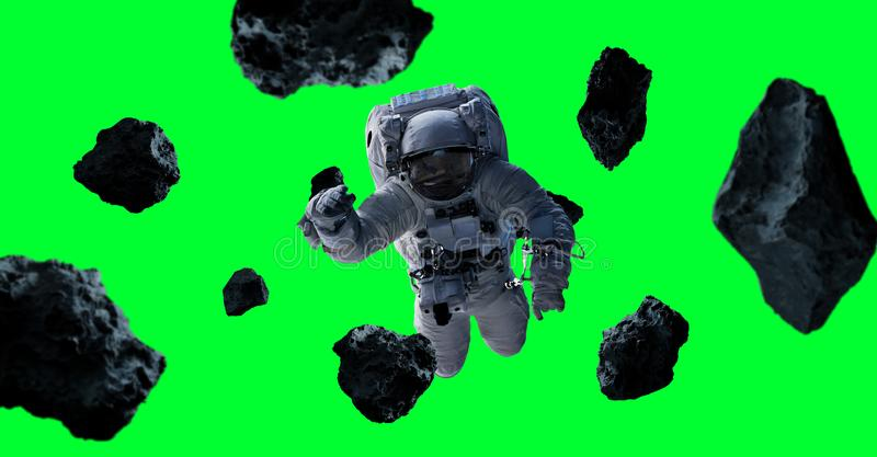 Astronaut isolated on green background 3D rendering elements of stock illustration