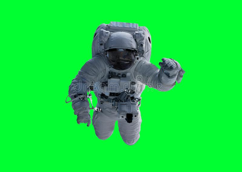 Astronaut isolated on green background 3D rendering elements of royalty free illustration
