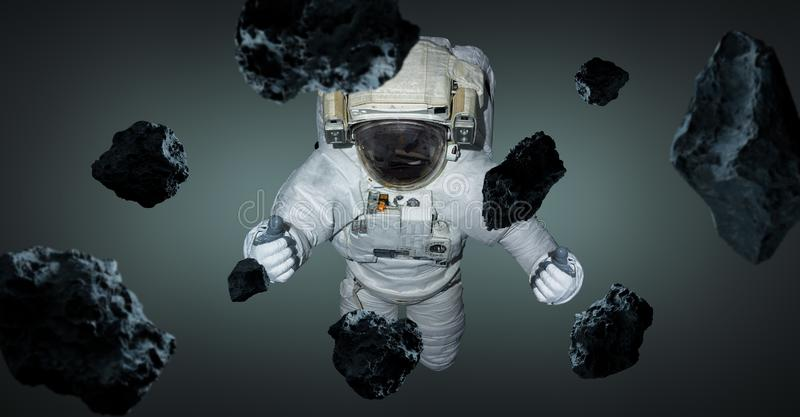 Astronaut isolated on grey background 3D rendering elements of t stock illustration