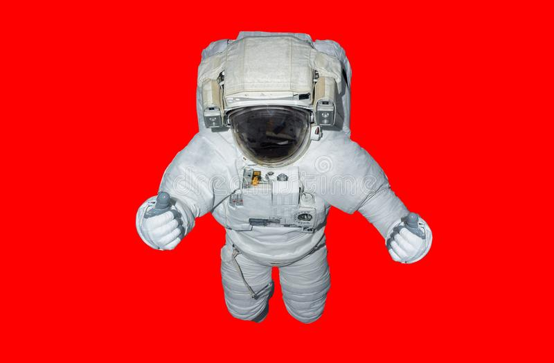 Astronaut isolated on red background 3D rendering elements of th royalty free illustration