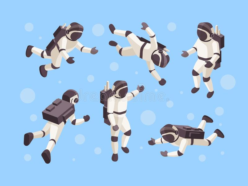 Astronaut isometric. Cosmo space futuristic human in special clothes vector astronaut in different poses vector illustration