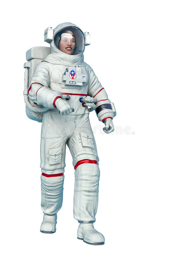 Astronaut just walking in a white background stock illustration