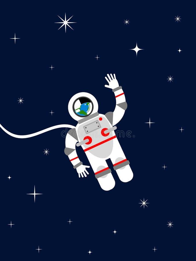 Astronaut in kosmische ruimte royalty-vrije illustratie