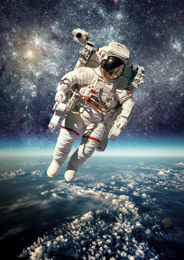 Astronaut in kosmische ruimte stock foto