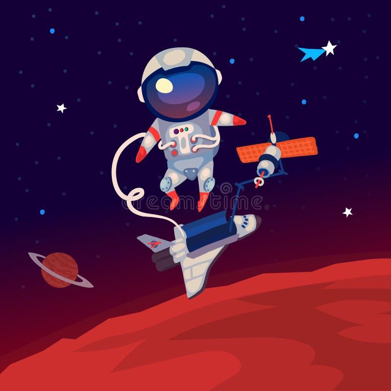 Astronaut in kosmische ruimte stock illustratie