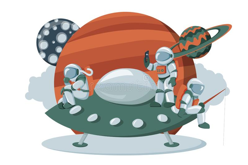 Astronaut landing on an alien space ship expedition cartoon flat dashboard image vector illustration