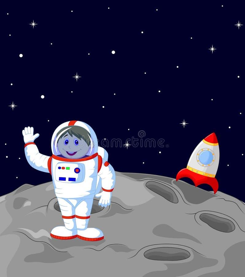 Astronaut landing on the moon. Illustration of Astronaut landing on the moon vector illustration
