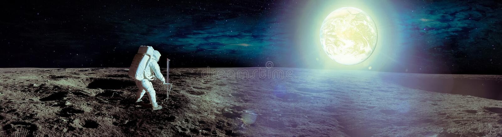 Astronaut landing on moon. Spacewalk on the moon. Panoramic view of the moon surface and the earth planet at light. Elements of this image furnished by NASA stock photos
