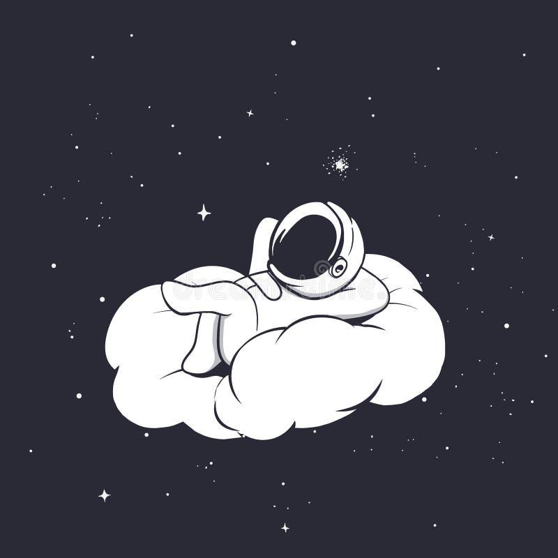 Astronaut lies on the cloud stock illustration