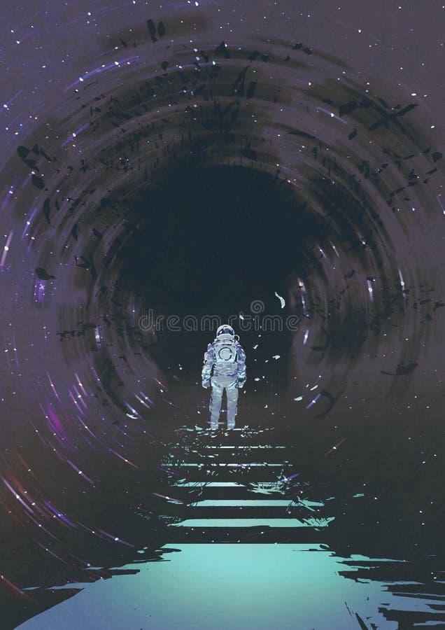 Man entering the black hole royalty free illustration